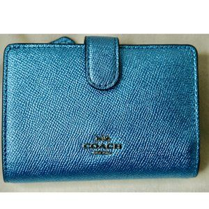 Coach Blue wallet with Coin Holder Attached.